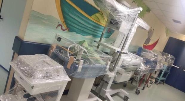 Un immagine dell ex area materno infantile dopo la riconfigurazione del San Matteo in ospedale Covid