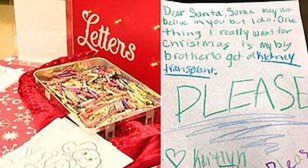 «Caro Babbo Natale, vorrei un rene per mio fratello», è caccia alla bimba dal cuore d'oro