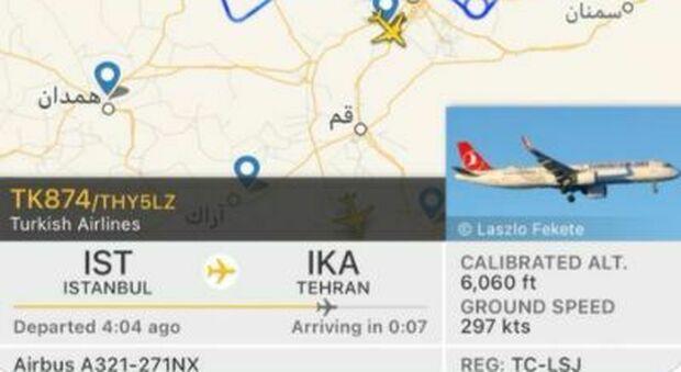 Iran, allarme aereo: velivo turco chiede atterraggio d'emergenza per evitare un incidente, ma Teheran dice di no