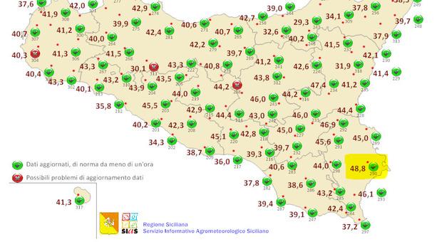 Caldo, 48.8° a Floridia (Siracusa): nuovo record europeo. Il precedente era di 48.5° nell'Ennese. Top 10 delle località più torride