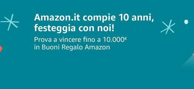 Amazon compie 10 anni: ecco come vincere fino a 10mila euro in buoni regalo