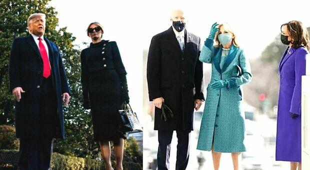 Inauguration Day: Melania Trump in nero, stelle e strisce per Joe e Jill Biden