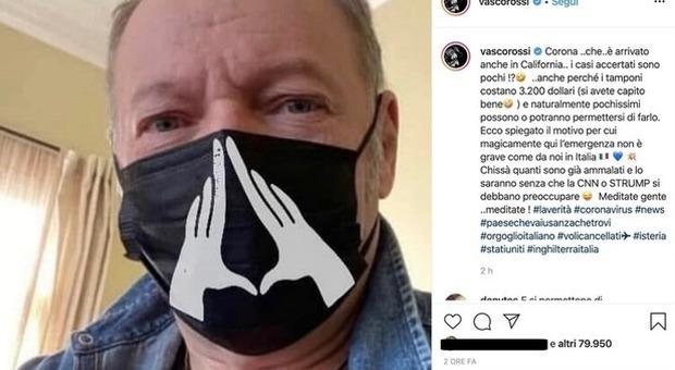 """Coronavirus, Vasco Rossi con la mascherina """"hot"""" negli Usa: «Qui pochi casi perché il tampone costa 3200 dollari»"""