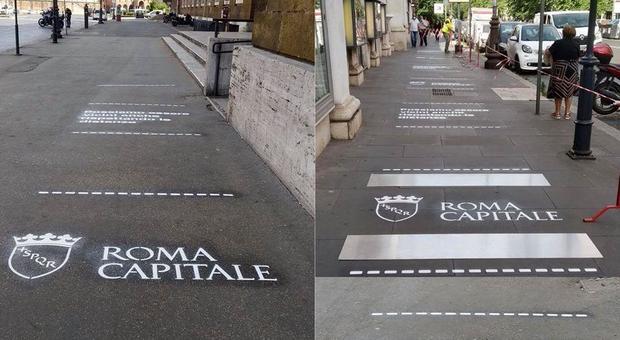 A sinistra via Petroselli la nuova segnaletica apparsa davanti all'Anagrafe. A destra, in via Cola di Rienzo davanti al mercato rionale