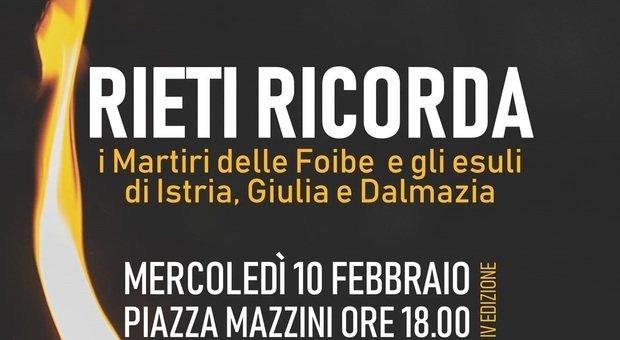Il 10 febbraio Rieti ricorda le vittime delle Foibe