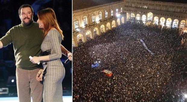 Salvini a Bologna: «Liberiamo il Paese». Ma la contro-piazza lo sfida