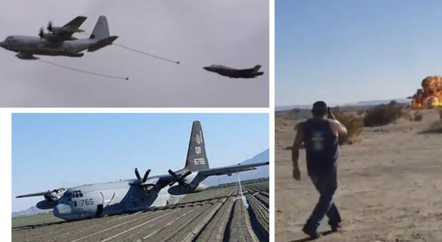 Urto tra F35 e aereo-cisterna: il caccia esplode, il tanker atterra senza carrello e con due motori in avaria Video Foto Audio