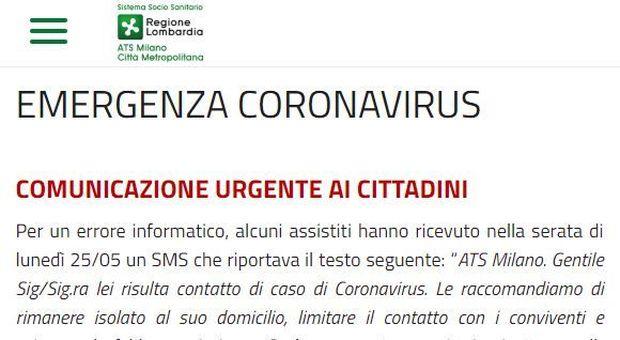 Lombardia: «Lei risulta contatto di caso di Coronavirus». Sms terrorizza i cittadini: «Errore informatico»