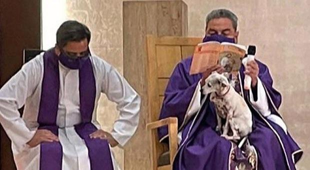 Padre Zatarain con Paloma durante la messa (immag pubbl tra gli altri da Aleteia ecc)