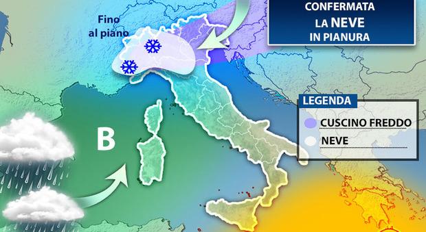 Meteo, arriva il freddo: prevista la neve anche sull'E45