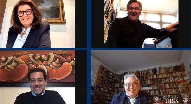 Paola Severino, Antonio Pappano, Luca Pirolo e Michele dall'Ongaro durante il webinar della Luiss