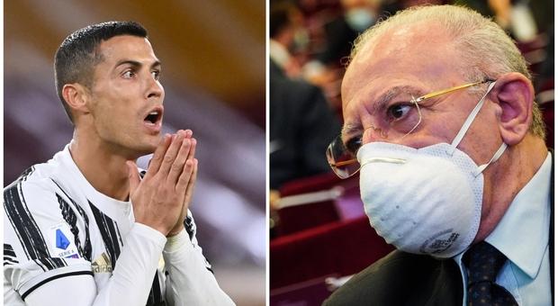 Covid Napoli, De Luca: «Juventus? Parole penose. Abbiamo evitato di contagiare Ronaldo»
