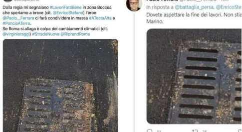 Tombino photoshoppato, il consigliere grillino Paolo Ferrara ritocca la foto per coprire un errore