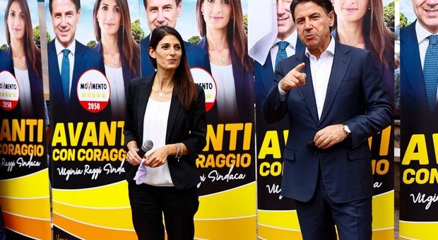 Virginia Raggi e Giuseppe Conte a San Basilio alla presentazione della lista M5S