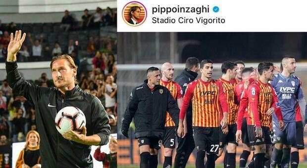 """Inzaghi esalta il Benevento che ferma la Roma. E Totti mette """"like"""""""