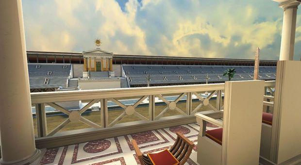 Nella foto la ricostruzione 3D delle tribune d'onore del Circo Massimo