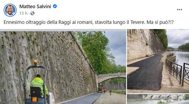 Salvini, polemica con Raggi sulla pista ciclabile: «Oltraggio ai romani». E lei: «Parli senza sapere»