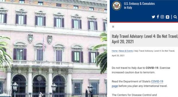 Ambasciata Usa a Roma: «Non viaggiate in Italia, rischio Covid e terrorismo»