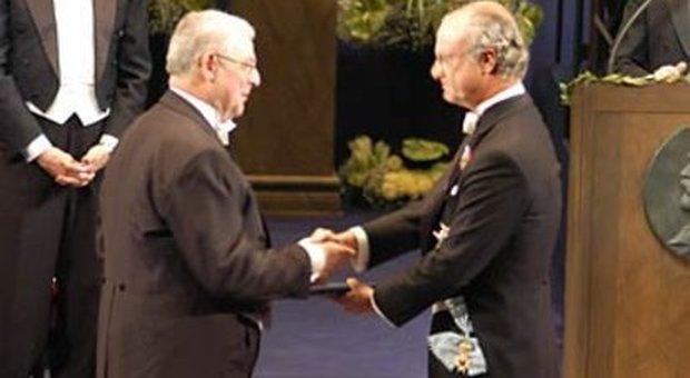 Riccardo Giacconi alla cerimonia del Premio Nobel nel 2002