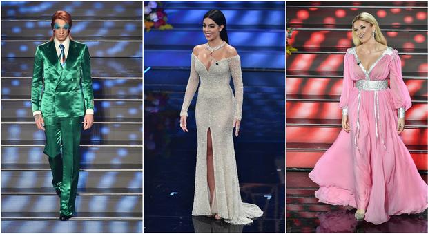 Sanremo 2020, pagelle look terza serata: Georgina Rodriguez 6, l'abito di paillettes è banale. Arisa versione infermiera