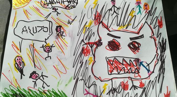 Coronavirus e scuola: il Covid-19 diventa una belva con le zanne, la paura trasforma i disegni dei bambini