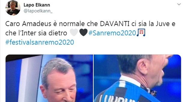 Sanremo, Lapo Elkann punge Amadeus: «Normale che le Juve sia davanti all'Inter»