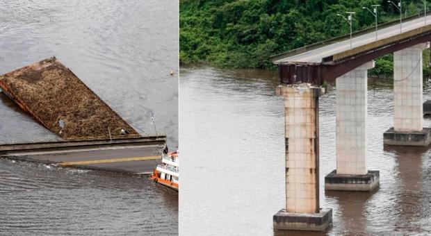 Brasile, traghetto colpisce un ponte e lo fa crollare