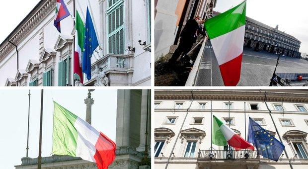 Bandiere a mezz'asta in tutta Italia, il Paese si ferma per le vittime del coronavirus