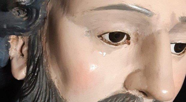 Calabria, lacrima la statuta di San Francesco, il parroco: «Presto ancora per parlare di miracolo»