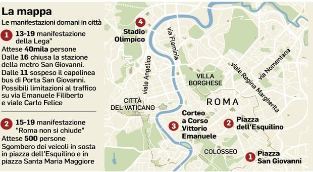 Centrodestra in piazza a Roma: oggi manifestazioni, strade chiuse e bus deviati