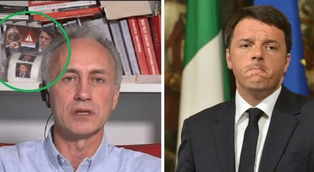 la carta igienica con la faccia di Renzi dietro ravaglio in tv su