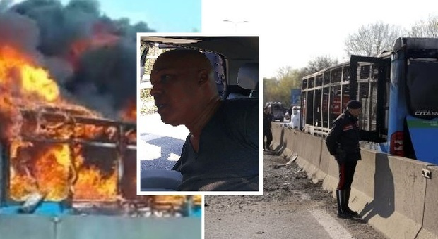 Autista senegalese dirotta bus con 51 bimbi e lo incendia: 14 feriti. «Basta morti in mare»