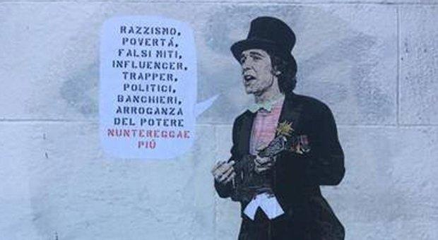 Roma, Montesacro. Murales di Harry Greb dedicato a Rino Gaetano: «...arroganza del potere: nun te reggae più».