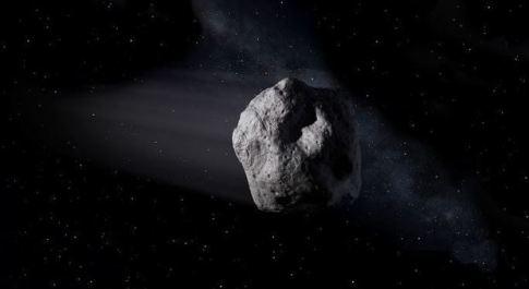 Una ricostruzione grafica dell'asteroide 2000 QW7 (Fonte: Nasa)