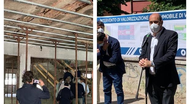 Zingaretti inaugura cantiere per recupero struttura abbandonata: diventerà un centro antiviolenza