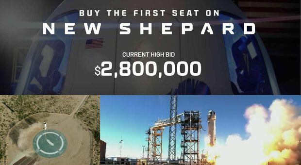Spazio, all'asta un biglietto per il viaggio sulla New Shepard: 3 milioni di dollari il prezzo finora raggiunto