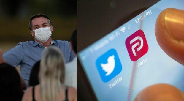 """Bolsonaro difende Trump ed invita i follower a migrare da Twitter a Parler, ma il """"social populista"""" è già bloccato da Google"""