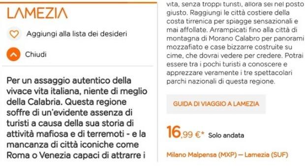 EasyJet, l'assurdo spot sulla Calabria: «Terra di mafia senza turisti». E' bufera. «Avviata indagine interna»