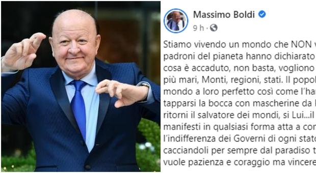 Massimo Boldi: «I potenti vogliono terrorizzarci, mascherine per tapparci la bocca». E invoca il Signore