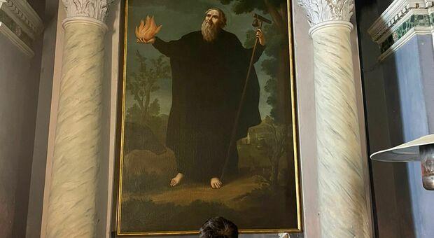 Sezze, il dipinto di Sant'Antonio Abate torna a casa