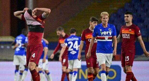Cristante si dispera in Samp-Roma 2-0 a Marassi