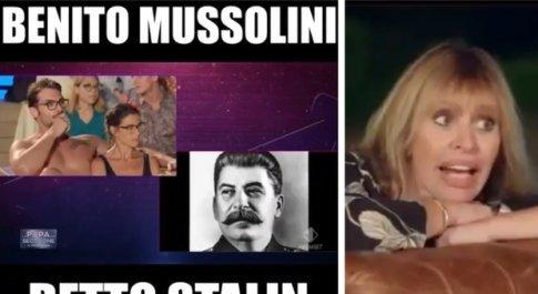La Pupa e il Secchione, gaffe in diretta: Stalin scambiato per Mussolini (e Alessandra reagisce così)