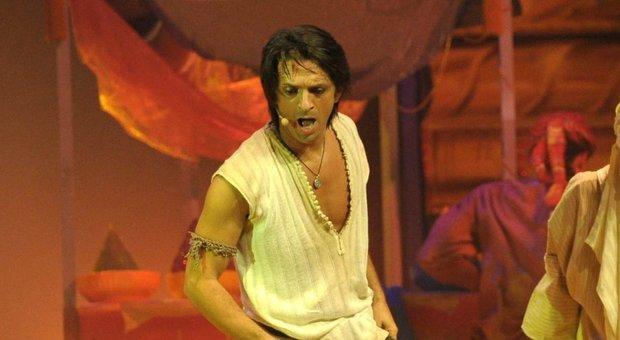 Manuel Frattini, nel ruolo di Aladin, alla prima di nazionale di 'Aladin, il Musical', con testi e liriche di Stefano D'Orazio e musiche dei Pooh