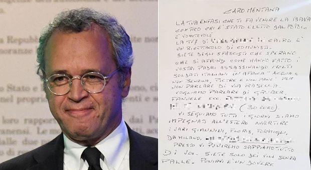 Enrico Mentana minacciato, pubblica la lettera firmata con una svastica