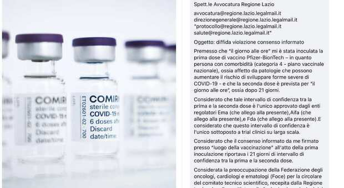 Lazio, seconda dose Pfizer a 35 giorni. Cittadini ricorrono al Tar: «Firmato consenso informato per 21»