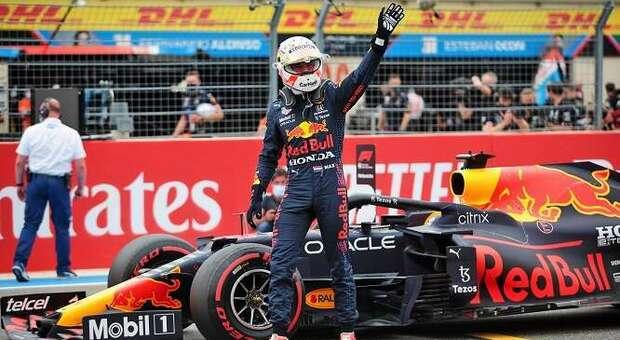 Max Verstappen festeggia appena terminato il GP di Francia
