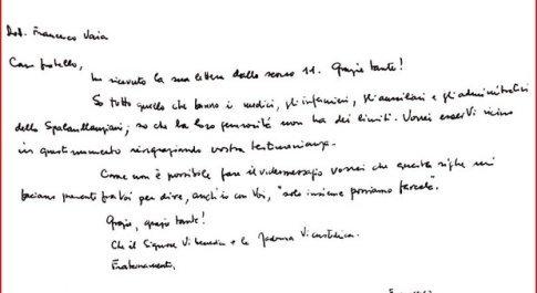 Coronavirus, Papa Francesco scrive allo Spallanzani: «Grazie, solo insieme possiamo farcela»