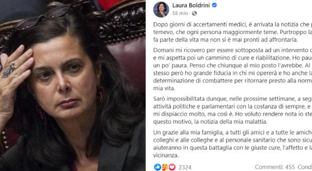 Laura Boldrini ricoverata: «Devo sottopormi a un intervento. Ho paura? Sì»