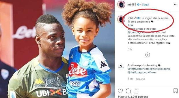 Balotelli dedica il gol a Napoli alla figlia Pia: «Un sogno che si avvera, amore mio»