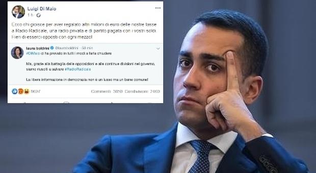 Radio Radicale, Di Maio contro Boldrini su Facebook: «Ecco chi gioisce per aver regalato 3 milioni di soldi pubblici»